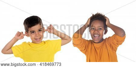 Two astonished children isolated on a white background