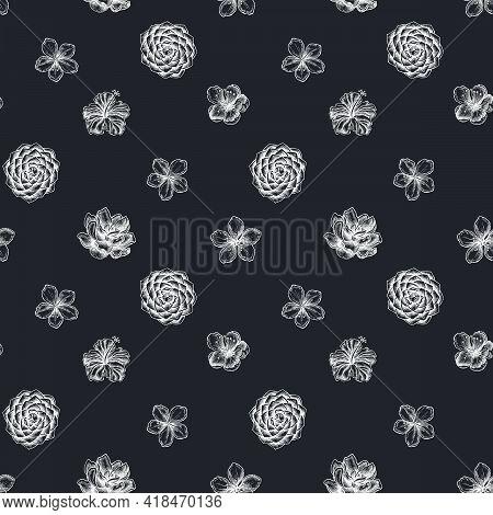Seamless Pattern With Hand Drawn Chalk Hibiscus, Plum Flowers, Peach Flowers, Sakura Flowers, Magnol