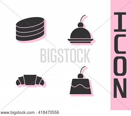 Set Pudding Custard, Brownie Chocolate Cake, Croissant And Cherry Cheesecake Icon. Vector