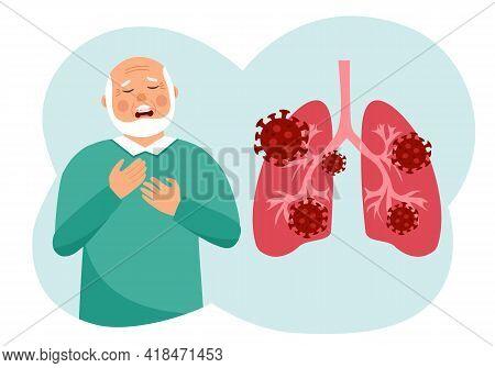 Sick Senior Man Has Chest Pain Symptom And Lungs With Virus Cells In Flat Design. Coronavirus Pneumo