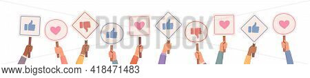 Hands Holding Signs With Likes And Dislikes. Votes Of Judges. Feedback. Hands Holding Likes And Disl