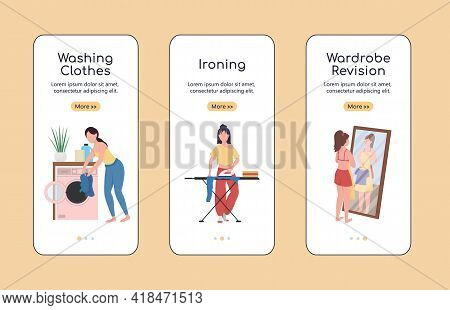 Clothes Revision Onboarding Mobile App Screen Flat Vector Template. Spring Cleaning. Walkthrough Web