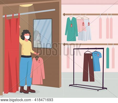 Clothing Shop During Epidemic Flat Color Vector Illustration. Hangers With Clothes And Apparel. Woma