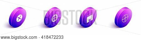 Set Isometric Bicycle Sprocket Crank, , Cycling Shorts And Wheel Icon. Vector