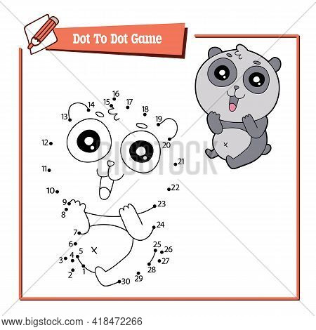 Dot To Dot Kid Educational Game. Vector Illustration Educational Kid Game Of Dot To Dot Puzzle With
