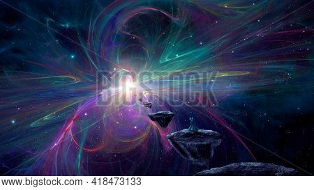 Sci-fi Landscape Digital Painting Background. Magician Walking On Stone Island Land With Colorful Fr