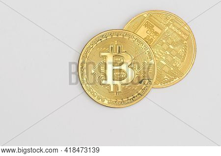 Galati, Romania - April 12, 2021 Studio Shot Of Golden Bitcoin Currency
