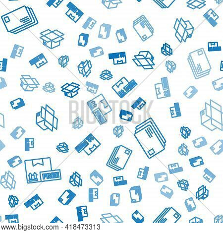 Set Line Cardboard Box With Free Symbol, Envelope And Carton Cardboard Box On Seamless Pattern. Vect