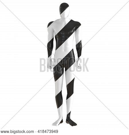 A Striped Black White Male Mannequin Stands In A Relaxed Position On An Isolated Background. Front V