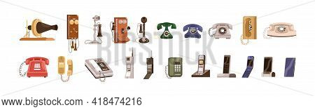 Phone Evolution From Old Vintage Telephones To Modern Wireless Devices. Realistic Communication Gadg