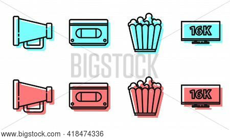 Set Line Popcorn In Box, Megaphone, Vhs Video Cassette Tape And Screen Tv With 16k Icon. Vector