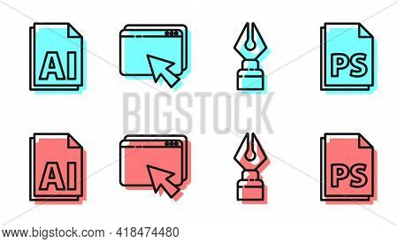 Set Line Fountain Pen Nib, Ai File Document, Web Design And Development And Ps File Document Icon. V