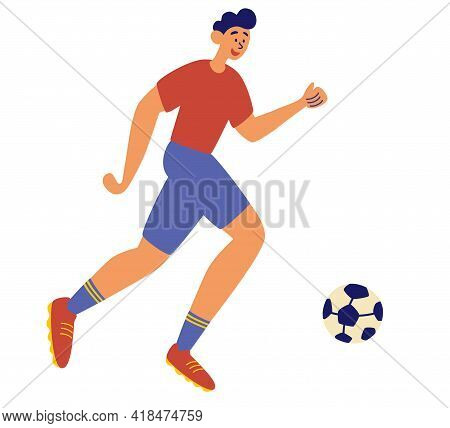 Soccer Sportsman, Man Playing With Ball. Happy Male Football Player Kicking The Ball. Sport Healthy