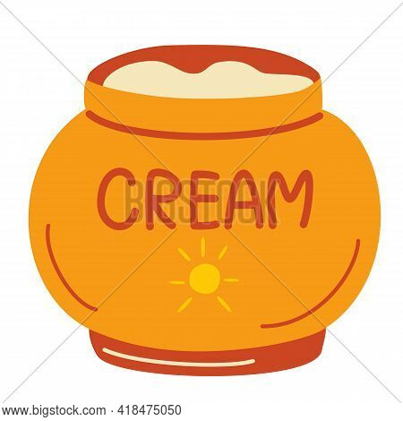Jar With Sunscreen. Cream In An Open Jar. Cosmetics. Face And Body Care Products. Spf Cream Jar Icon