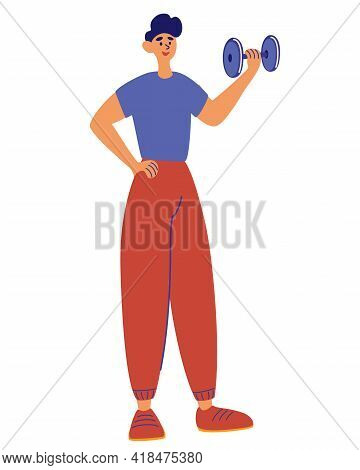 Young Man Training With Dumbbell. Smiling Man Holding His Hand Up With Dumbbell. Exercise For Arm St