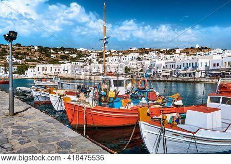 Beautiful Summer Day In Marina Of Greek Island. Colorful Fishing Boats. Whitewashed Houses. Mykonos,