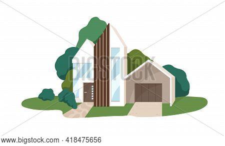Modern House Building Exterior. Minimalistic Contemporary Villa Architecture. Facade Of Suburban Hom