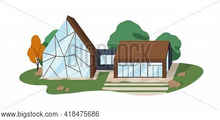 Modern Villa Building From Glass And Wood. Contemporary Architecture Of Suburban Residential House W