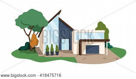 Modern House Building. Contemporary Architecture Of Private Villa. Minimalistic Residential Construc