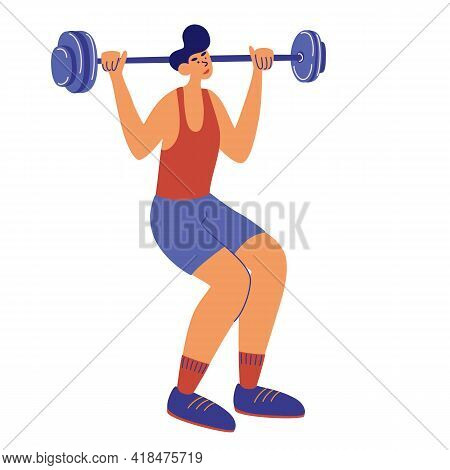 Young Guy Squatting With Barbell. Man Bodybuilder, Weightlifter Working Out, Training With Barbell I
