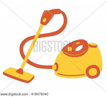 Red Vacuum Cleaner. Electrical Appliance For Cleaning. Vacuum Cleaner For Home And Professional Clea
