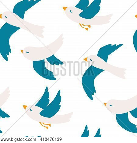 Seamless Pattern With Seagulls. Cute Seagull Bird Seamless Pattern. Flying Birds Pattern. Summer Vac