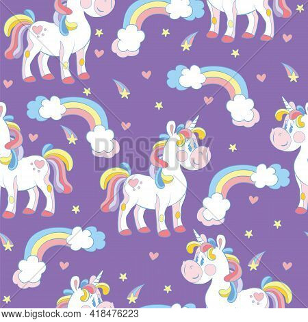 Seamless Pattern With Cute Cartoon Unicorns And Rainbows On Purple Background. Vector Illustration F