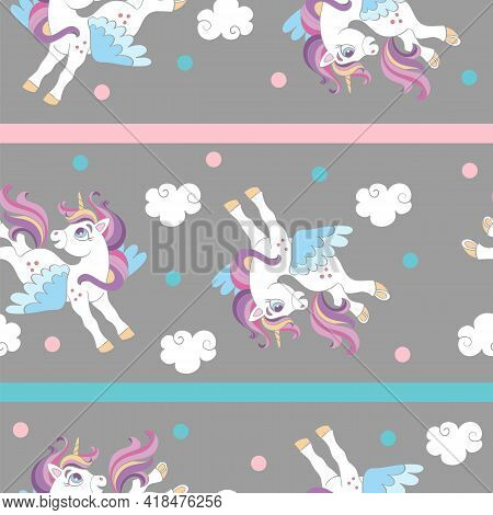 Seamless Pattern With Cute Cartoon Unicorns And Clouds On Gray Background. Vector Illustration For P