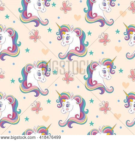 Seamless Pattern With Pretty Unicorns Heads And Butterflies On Beige Background. Vector Illustration
