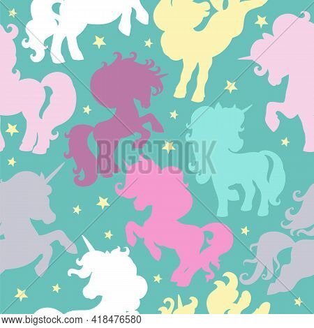 Seamless Pattern With Colorful Unicorns Silhouettes On Turquoise Background. Vector Illustration For