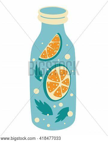 Fresh Lemonade With Lemon Slice In Bottle. Label Design Template. Vector Element Of Smoothie Lemonad