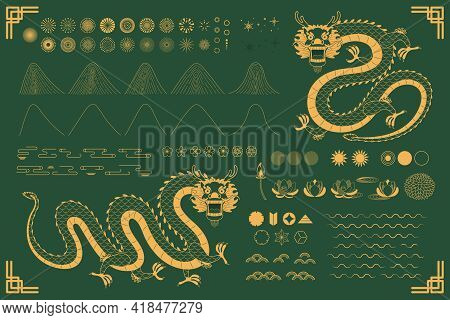 Chinese, Asian Dragon Traditional Oriental Gold Elements Collection, Clouds, Waves, Mountains, Firew