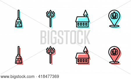 Set Line Castle, Witches Broom, Neptune Trident And Pumpkin Icon. Vector