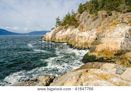 Rocks and ocean view at Lighthouse Park at West Vancouver, Canada.