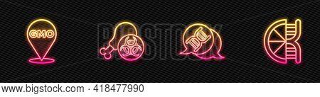 Set Line Dna Symbol, Gmo, Gmo Research Chicken And Genetically Modified Orange. Glowing Neon Icon. V