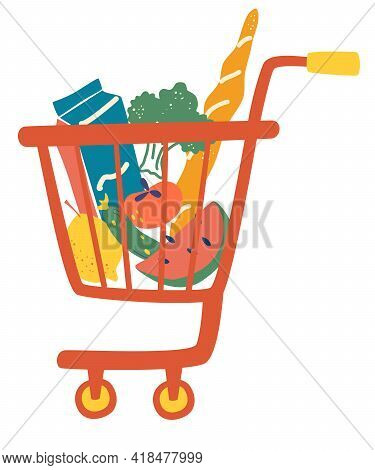 Shopping Trolley Full Food Meal. Complete Shopping Cart. Grocery Store, Supermarket. Department Stor