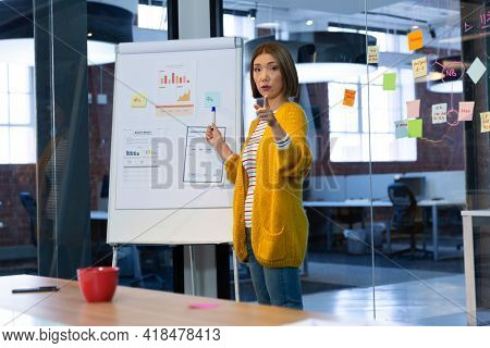 Portrait of asian businesswoman standing in front of whiteboard pointing and giving presentation. independent creative design business.
