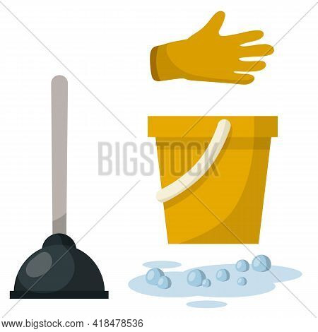 Set Of Plumbing Items. Yellow Bucket, Glove, Puddle Of Water With Bubbles, Plunger. Technical Work.