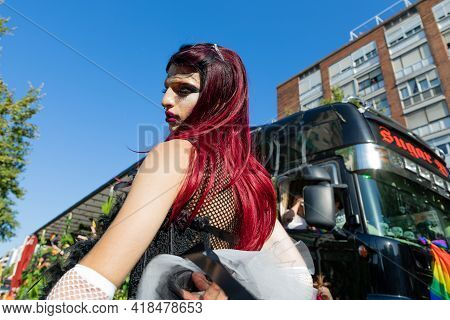 Barcelona - Spain. June 29, 2020: Parade Participant In A Black Guipure Dress And White Long Guipure
