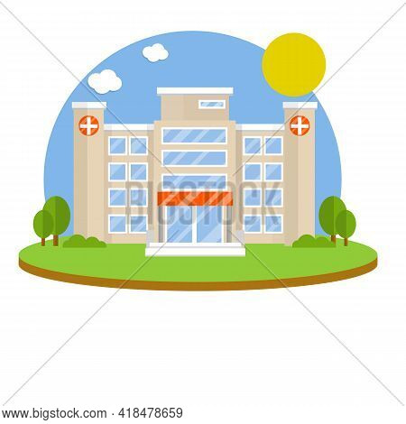 Hospital With Medical Symbol On Facade. Clinic For Treatment Of Patients. Providing Medical Care. Do