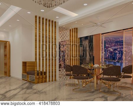 3d Rendered Contemporary Style Living Room With Dinning Table And White Color Finish False Ceiling W