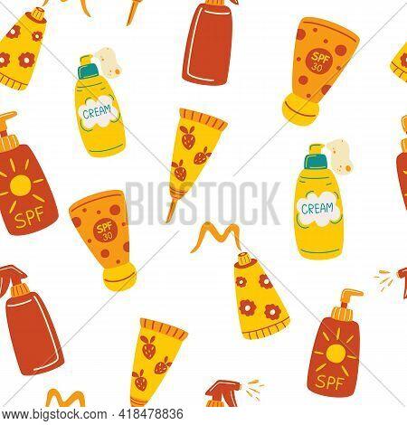 Seamless Pattern With Sunscreens. Sunscreen Moisturizer, Lotion, Lipstick, Sunscreen, Various Bottle