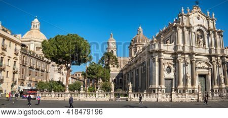Catania, Italy - March 2, 2020: Panorama of the Piazza del Duomo square with Saint Agata Cathedral in Catania, Sicily, Italy