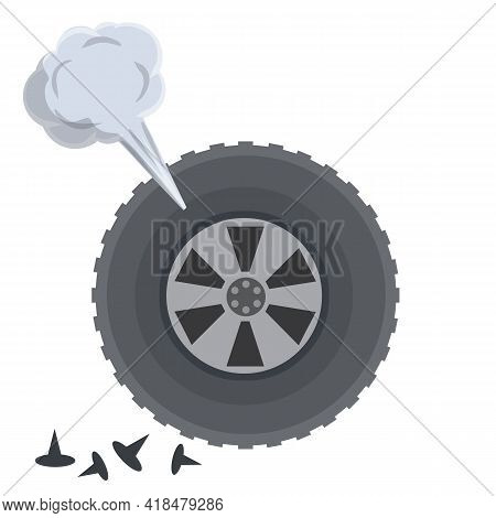 Deflated Automobile Tire. Punctured Wheel Of Car. Cartoon Flat Illustration. Comic Air And Smoke. Ac