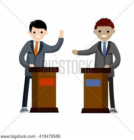 Man And Political Debate. Guys In Shirt. State Elections. Red Vs Blue Idea - Cartoon Flat Illustrati