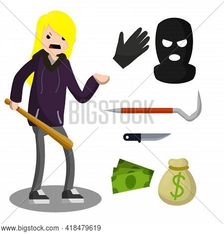 Thief With Knife. Female Robber In Black Cloth. Set Of Tools For Crime. Pinch Bar, Crowbar, Glove. S