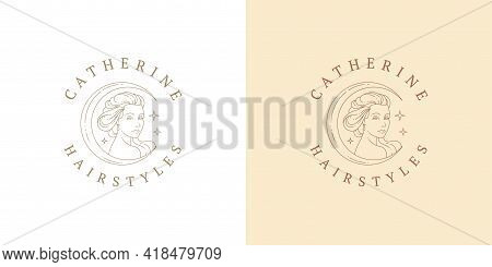 Female Portrait As Moon Crescent Logo Emblem Design Template Vector Illustration In Minimal Line Art