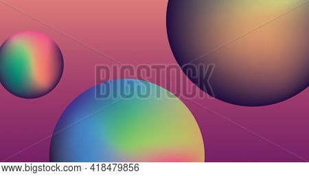 Composition of three gradient spheres in vibrant colors on pink background. colour and shape concept digitally generated image.