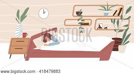 Tired Woman Sleeping In Comfortable Bed Under Blanket In Bedroom. Person Dreaming In Cozy Room. Bedt