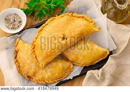 Savoury Pastry Cornish Pasty Filled With Chicken And Potato